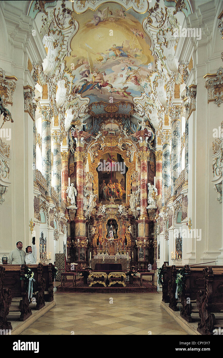 Germany, Bavaria, Wiese barocco church interior - Stock Image