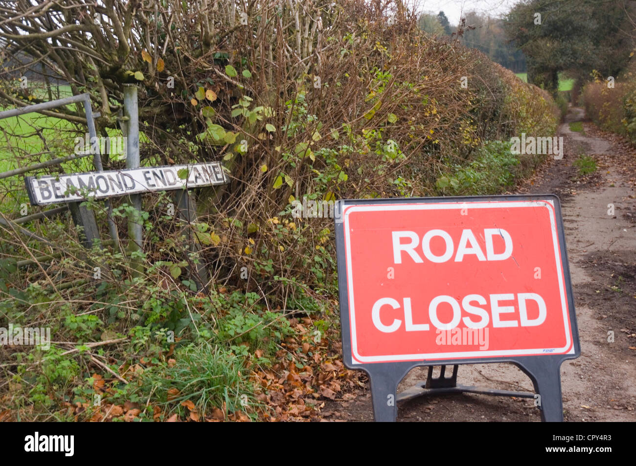 Closure of a country lane - Road Closed sign - autumn leaves and colours in the hedgerows - lane curving into distance - Stock Image