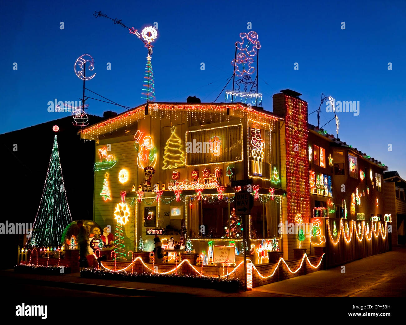 Many homes on Balboa Island are creatively and colorfully decorated during the Christmas holidays in Newport Beach, - Stock Image