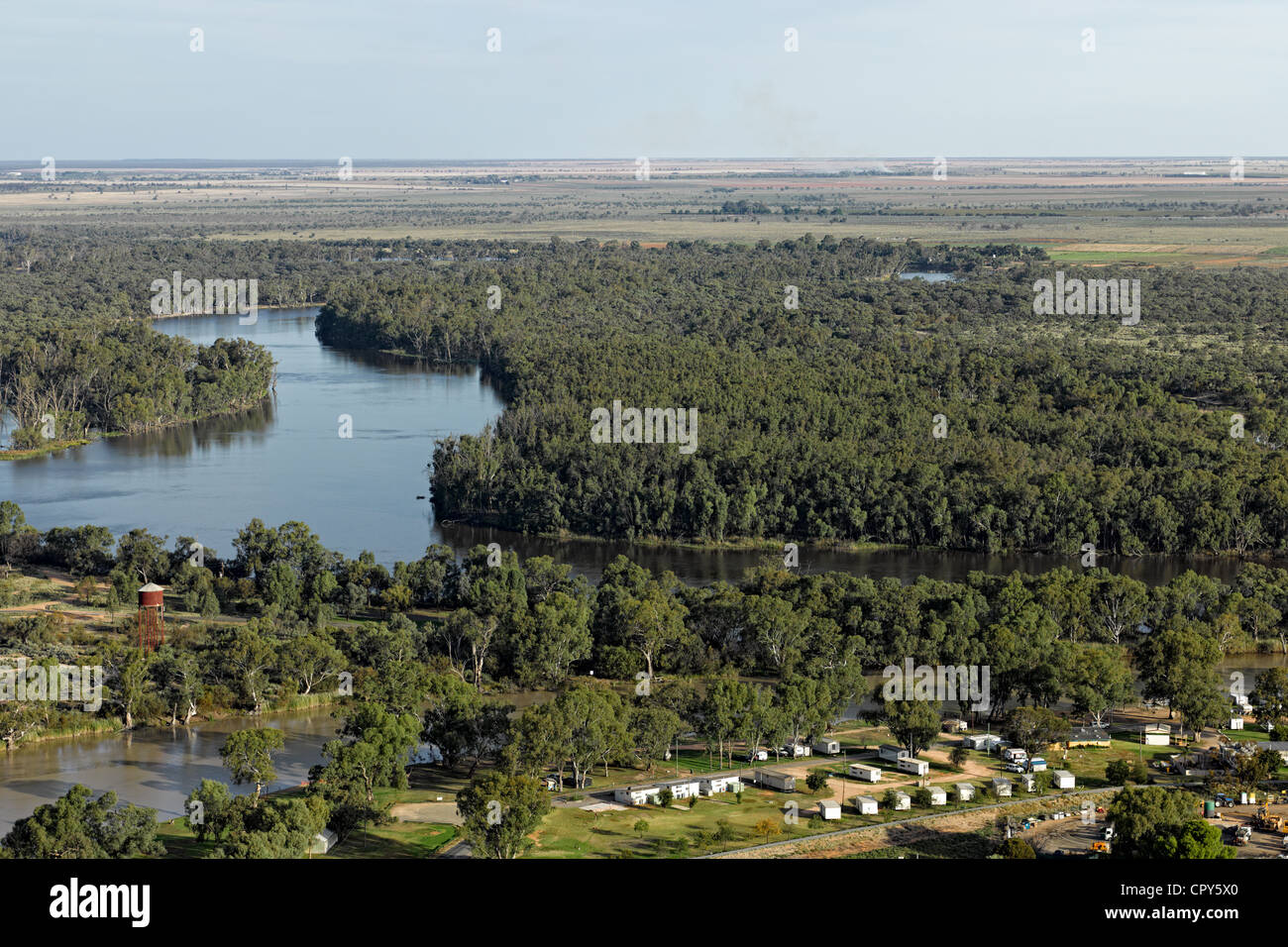Low level aerial photograph of the River Murray, just before joining the Darling River at Wentworth, NSW, Australia. - Stock Image
