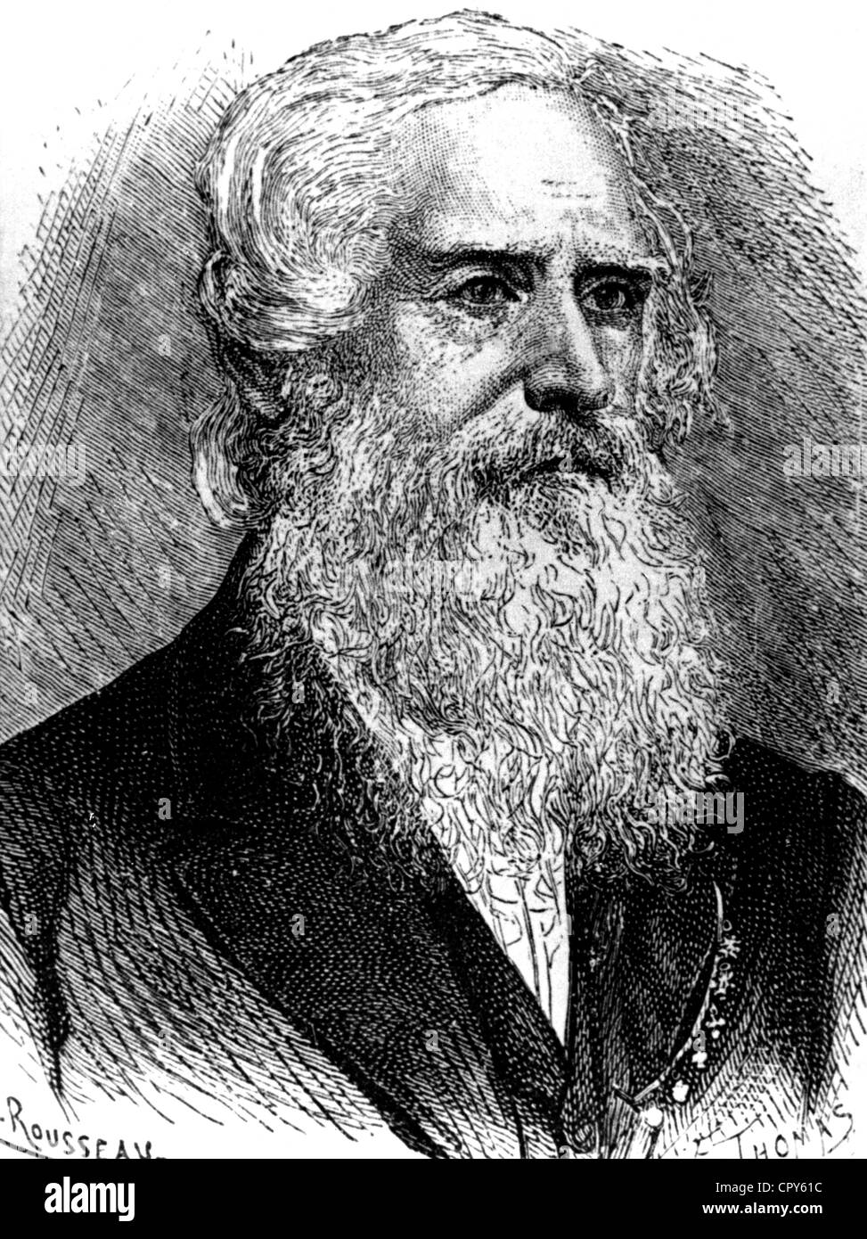 Morse, Samuel, 27.4.1791 - 2.4.1872, American inventor, portrait, wood engraving, 19th century, full beard, inventor, - Stock Image