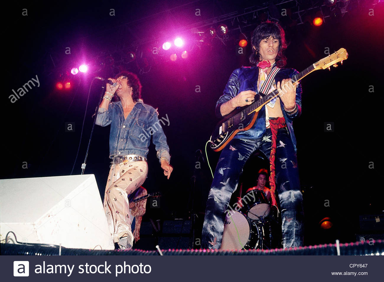 Rolling Stones, British rock band, Mick Jagger and Keith Richards on stage, 1970s, jeans jacket, musicians, musician, - Stock Image