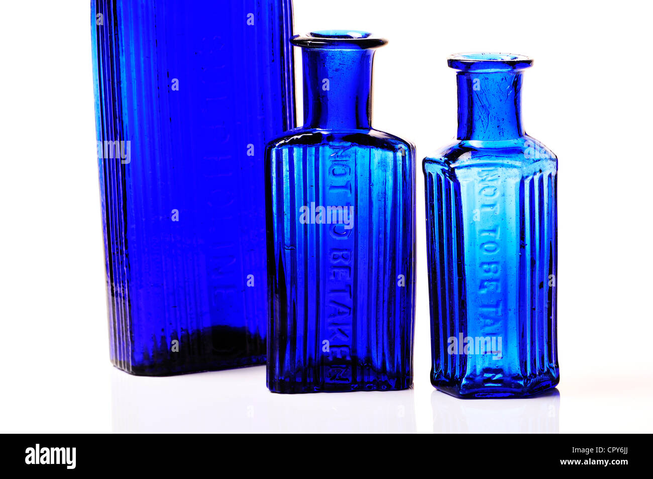 Blue poison bottles 'Not To Be Taken' - Stock Image