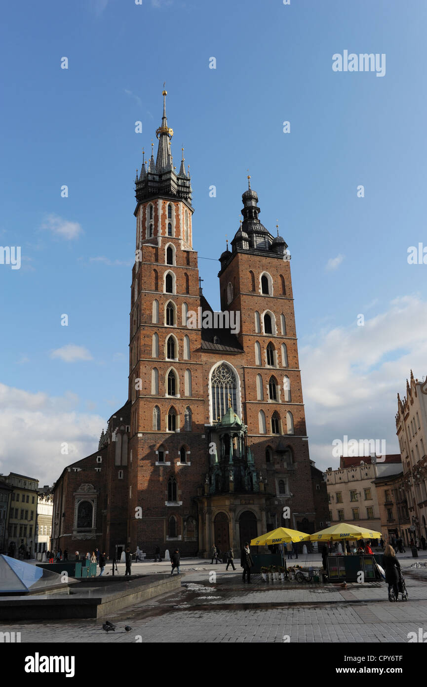 Poland. Krakow. Central Market Square with Saint Mary's Basilica. - Stock Image