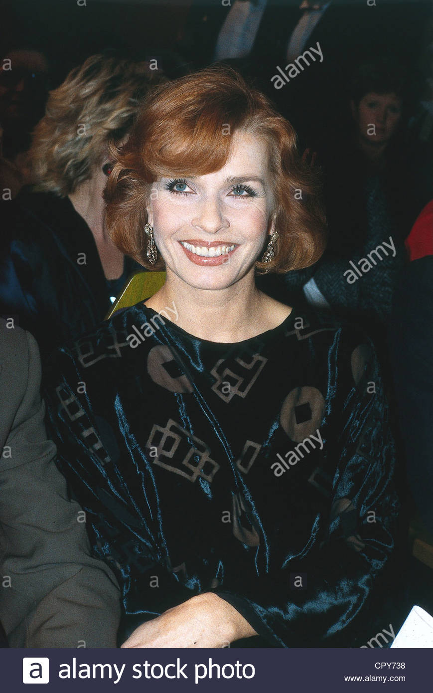Berger, Senta, * 13.5.1941, Austrian actress, half length, 1980s, party, high society, VIP event, smiling, - Stock Image