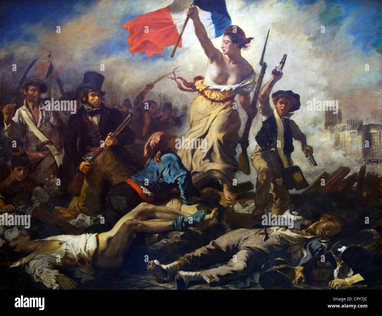 Liberty Guides the People, 28th July 1830, by Eugene Delacroix, 1831, Musee du Louvre Museum, Paris, France, Europe - Stock Image