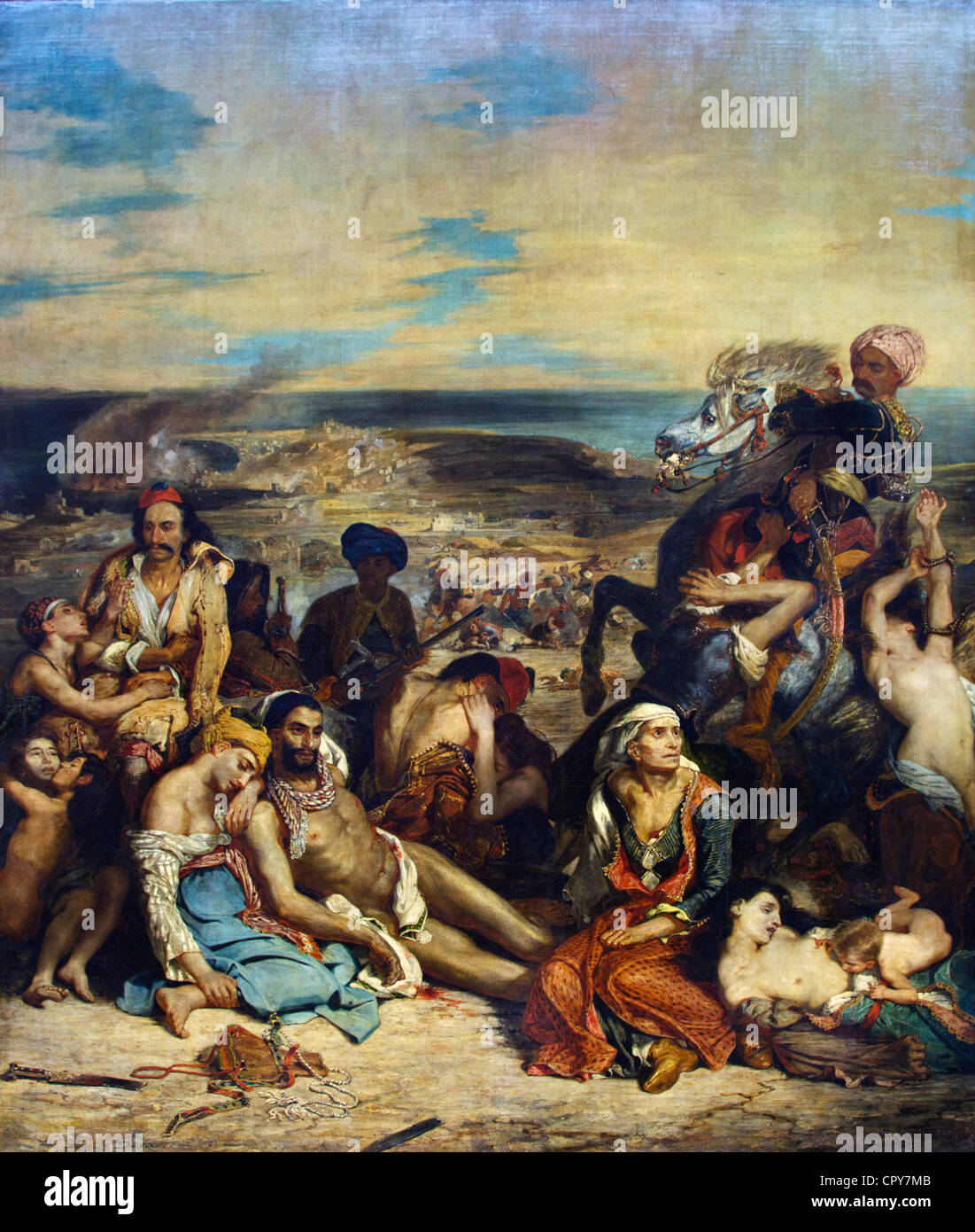 Scene of Massacre of Scio, Greek families attend to wounded or dead, Eugene Delacroix 1824 Musee du Louvre Museum - Stock Image