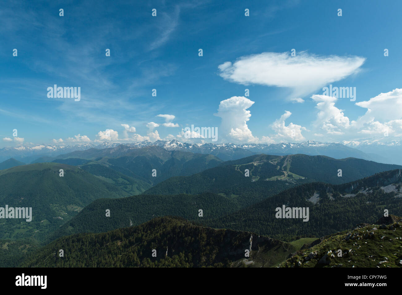 View Of The Pyrenees From Mount Cagire Midi Pyrenees France Stock