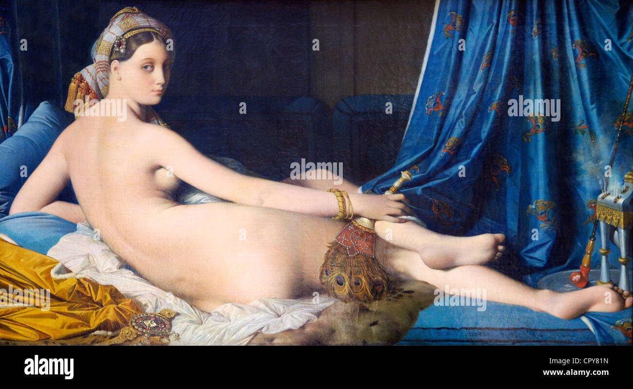 Grande odalisque, 1814-1819, by Jean-Auguste-Dominique Ingres, Musee du Louvre Museum, Paris, France, Europe - Stock Image