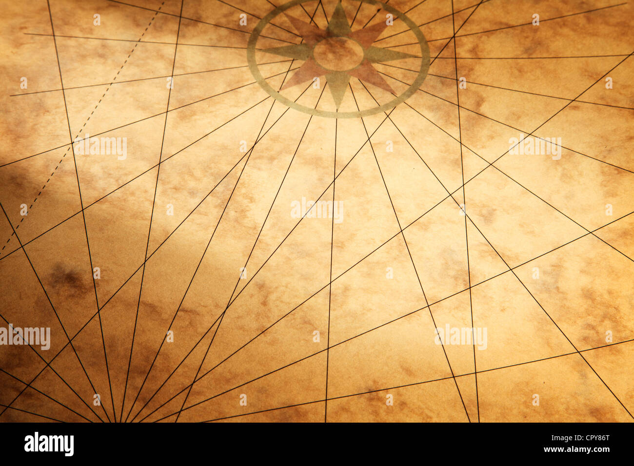 Background image with old paper texture and compass - Stock Image