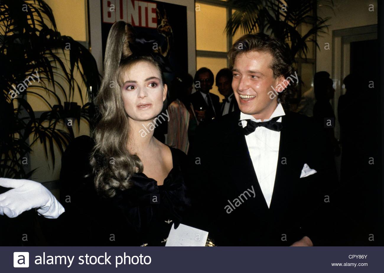Meir, Gerhard, * 4.8.1955, German VIP hairdresser, half length, with Gloria, Princess of Thurn & Taxis, 1980s, - Stock Image