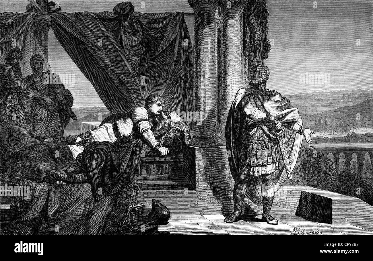 Charles III 'the Fat', 839 - 13.1.888, Frankish King 876 - 888 and Roman Emperor 881 - 888, with count Odo - Stock Image