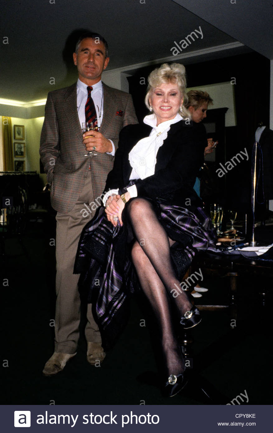 Gabor, Zsa Zsa, * 6.2.1917, US actress of Hungarian origin, half length, with her husband Frederic Prinz von Anhalt, - Stock Image