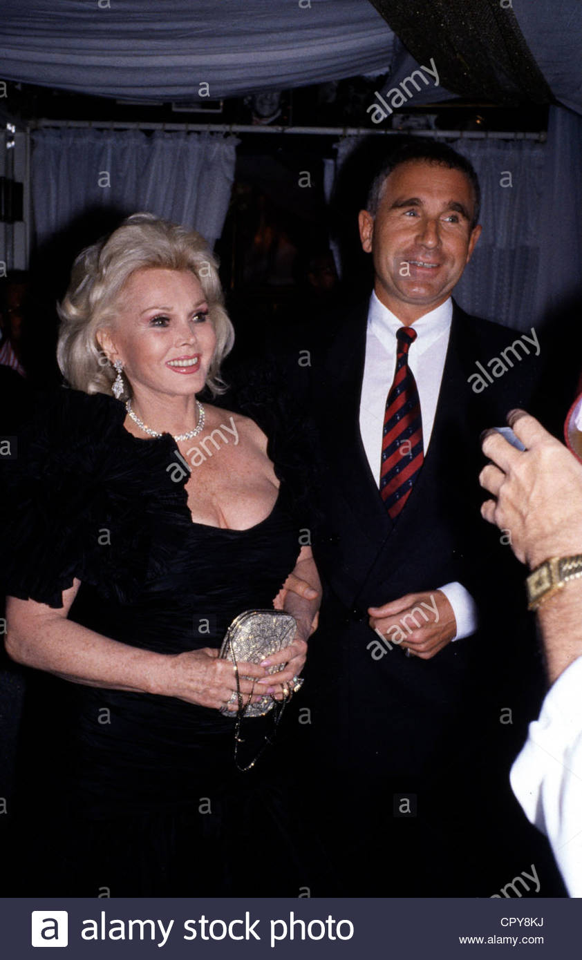 Gabor, Zsa Zsa, * 6.2.1917, US actress of Hungarian origin, with her husband Frederic Prinz von Anhalt, 1980s, prince, - Stock Image