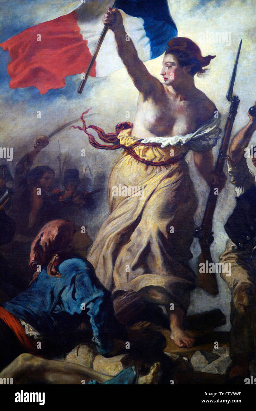 Detail of Liberty Guides the People,  28th July 1830, by Eugene Delacroix, 1831, Musee du Louvre Museum, Paris, - Stock Image