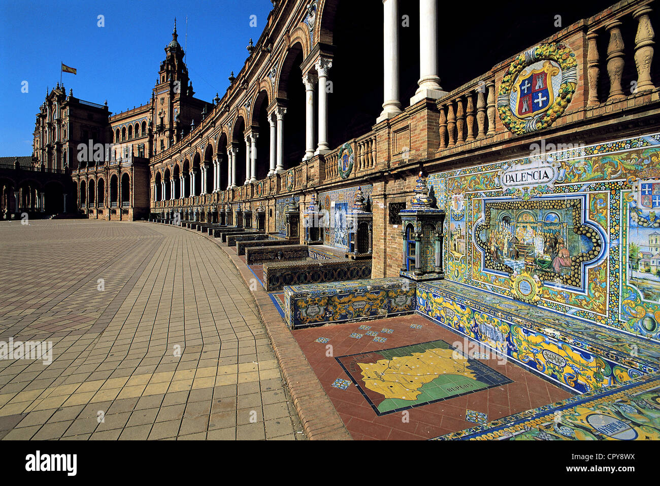 Spain, Andalucia, Sevilla, Plaza de Espana, designed by Aníbal González, built in 1929 to host Spanish - Stock Image