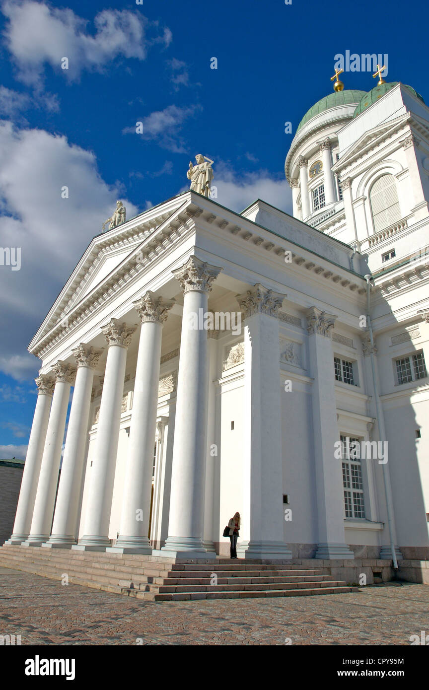 Finland, Helsinki, Lutherian cathedral built in 1852 on the Senate square - Stock Image