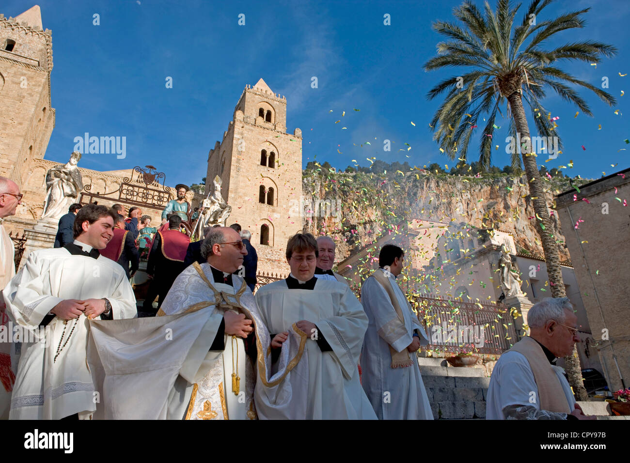 Italy, Sicily, Cefalu, the Great procession of San Giuseppe in march - Stock Image