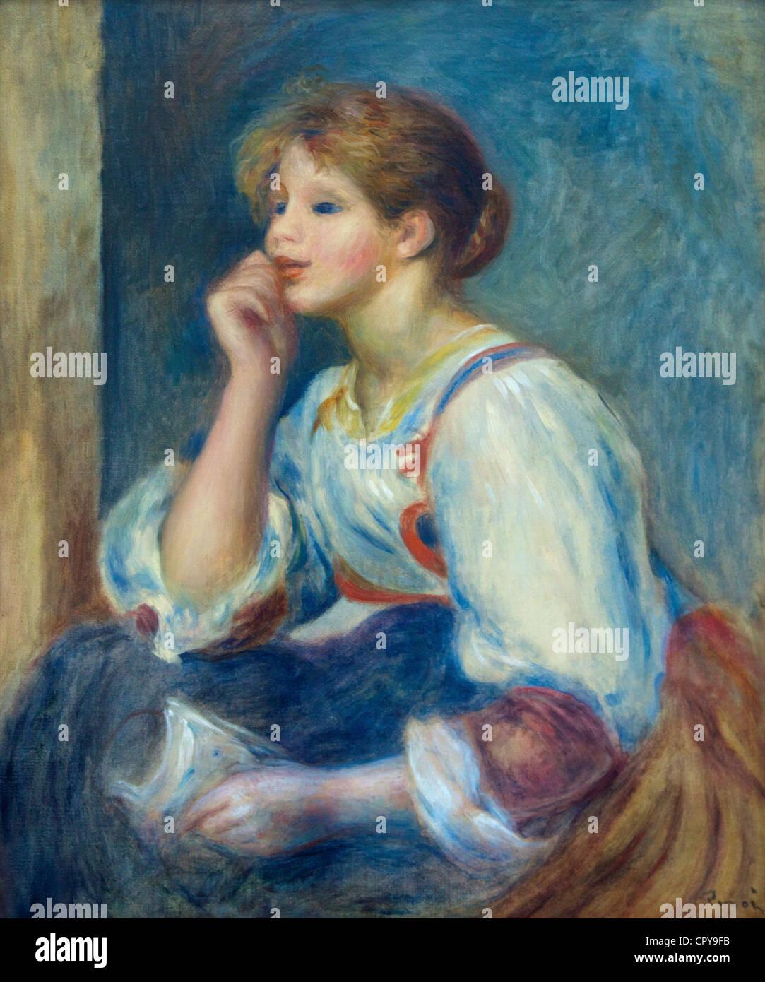 Woman with letter, by Pierre-Auguste Renoir, 1890, Musee de L'Orangerie Museum, Paris, France, Europe, EU - Stock Image