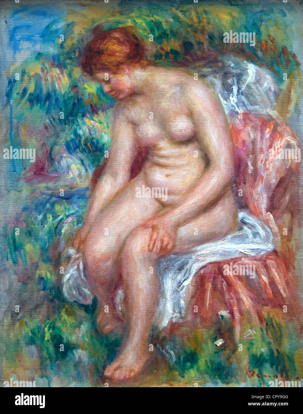 Bather washing her leg, by Pierre-Auguste Renoir, 1914, Musee de L'Orangerie Museum, Paris, France, Europe, - Stock Image