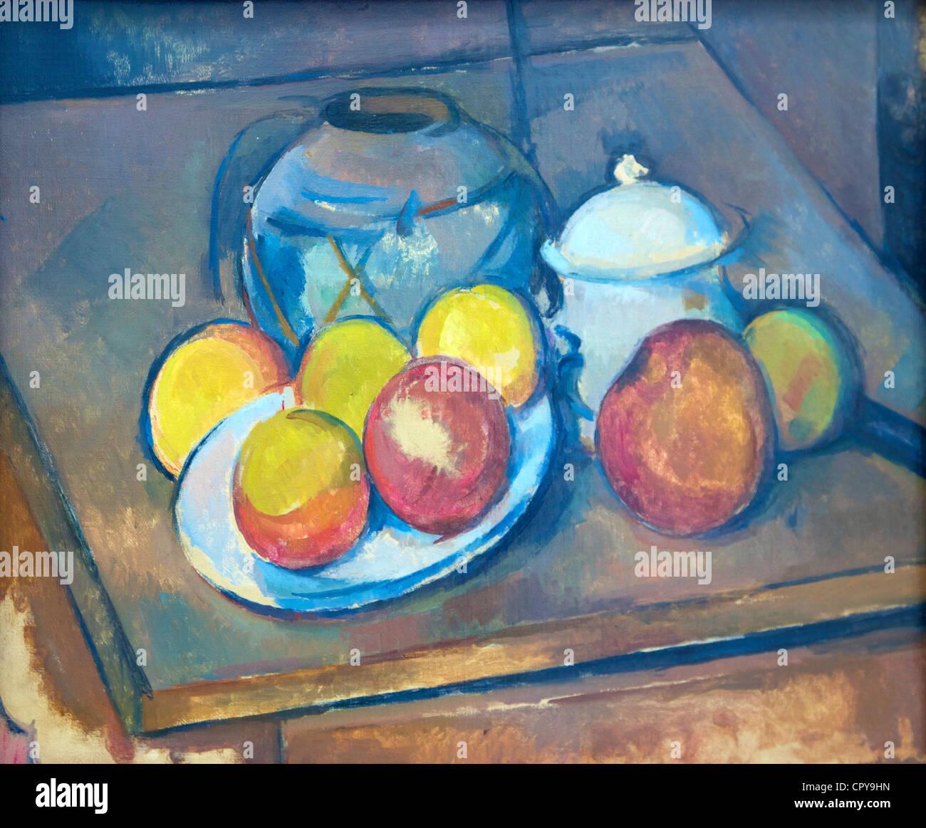 Flawed Vase, Sugar Bowl and Apples, by Paul Cezanne, 1890-93, Musee de L'Orangerie Museum, Paris, France, Europe, - Stock Image