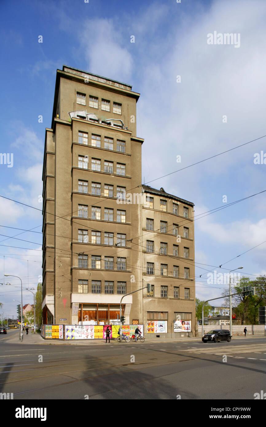 The Hochhaus am Albertplatz, Dresden's first skyscraper built in 1929, Germany. - Stock Image