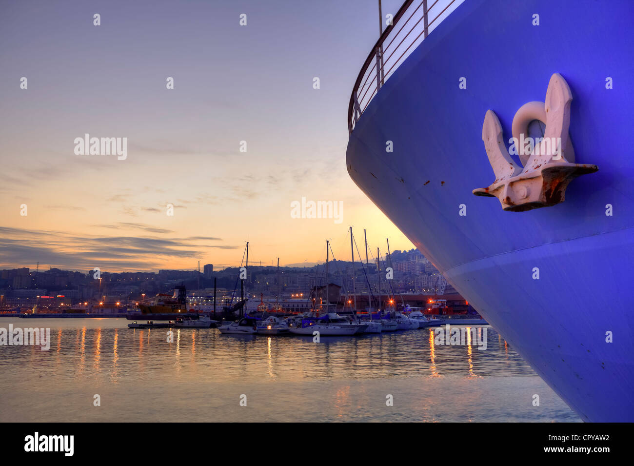 Genoa in the evening - Stock Image