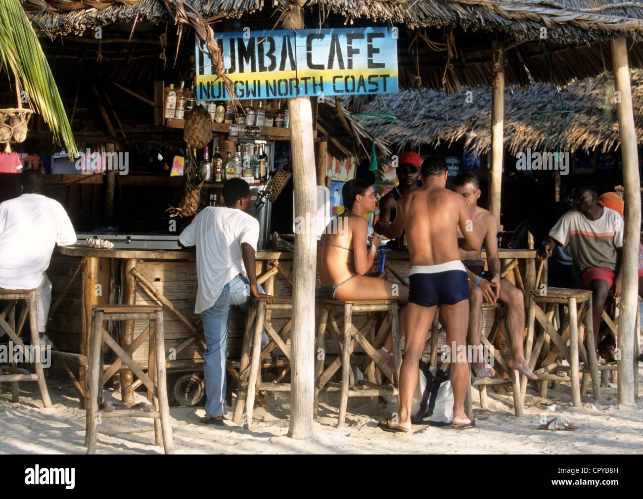Tanzania, Zanzibar Archipelago, Unguja island (Zanzibar), Nungwi, cafe on the beach - Stock Image