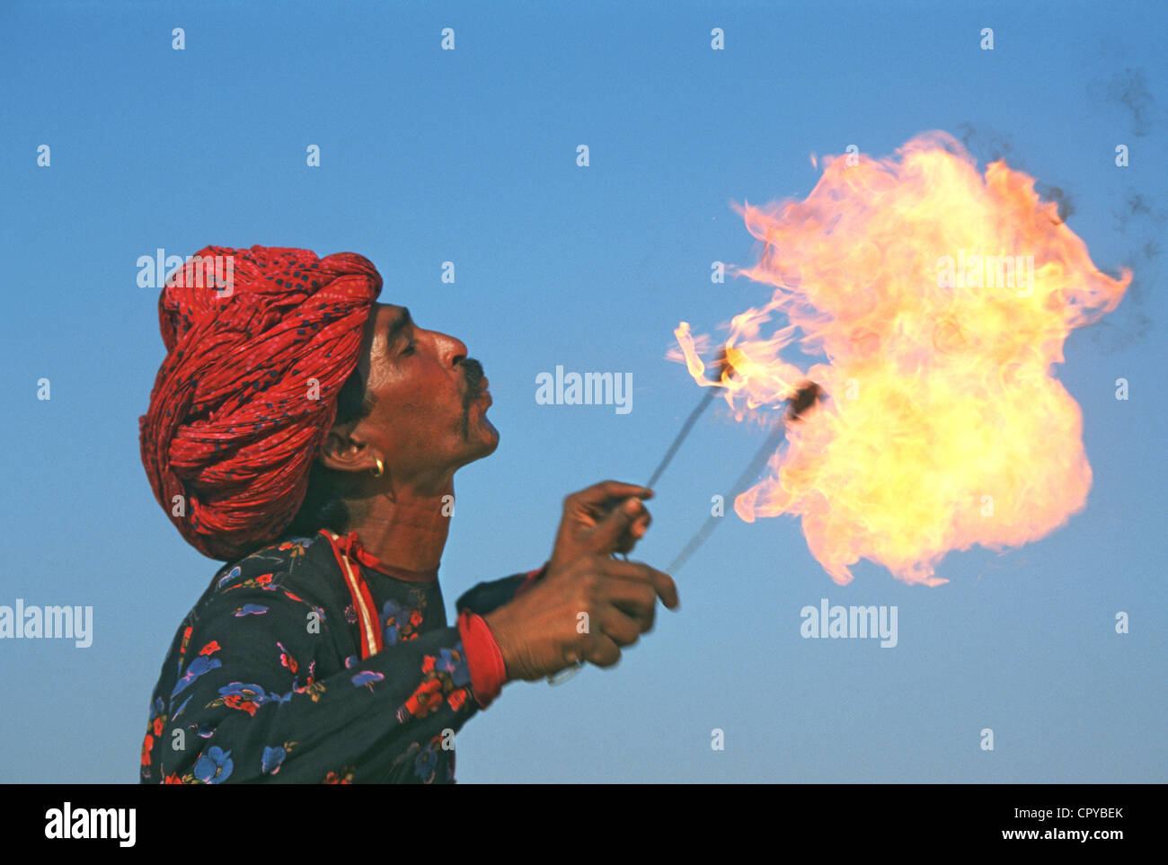 Fire eater ( India) - Stock Image