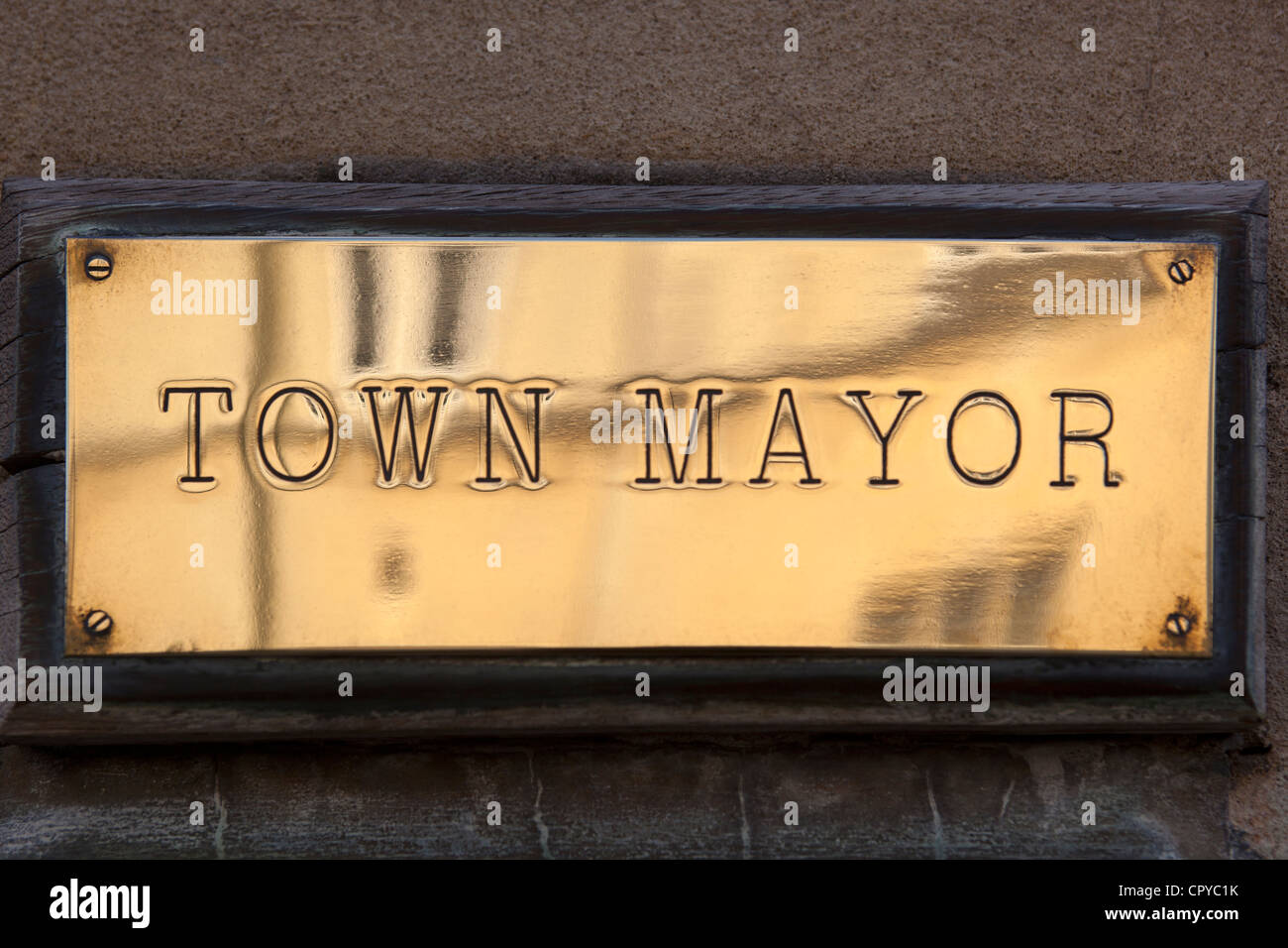 Town Mayor Brass Plate Sign - Stock Image