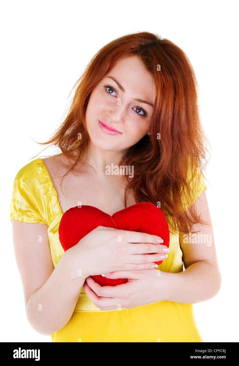 dbab7204365a Young beautiul woman with red heart in her hands on white background. -  Stock Image