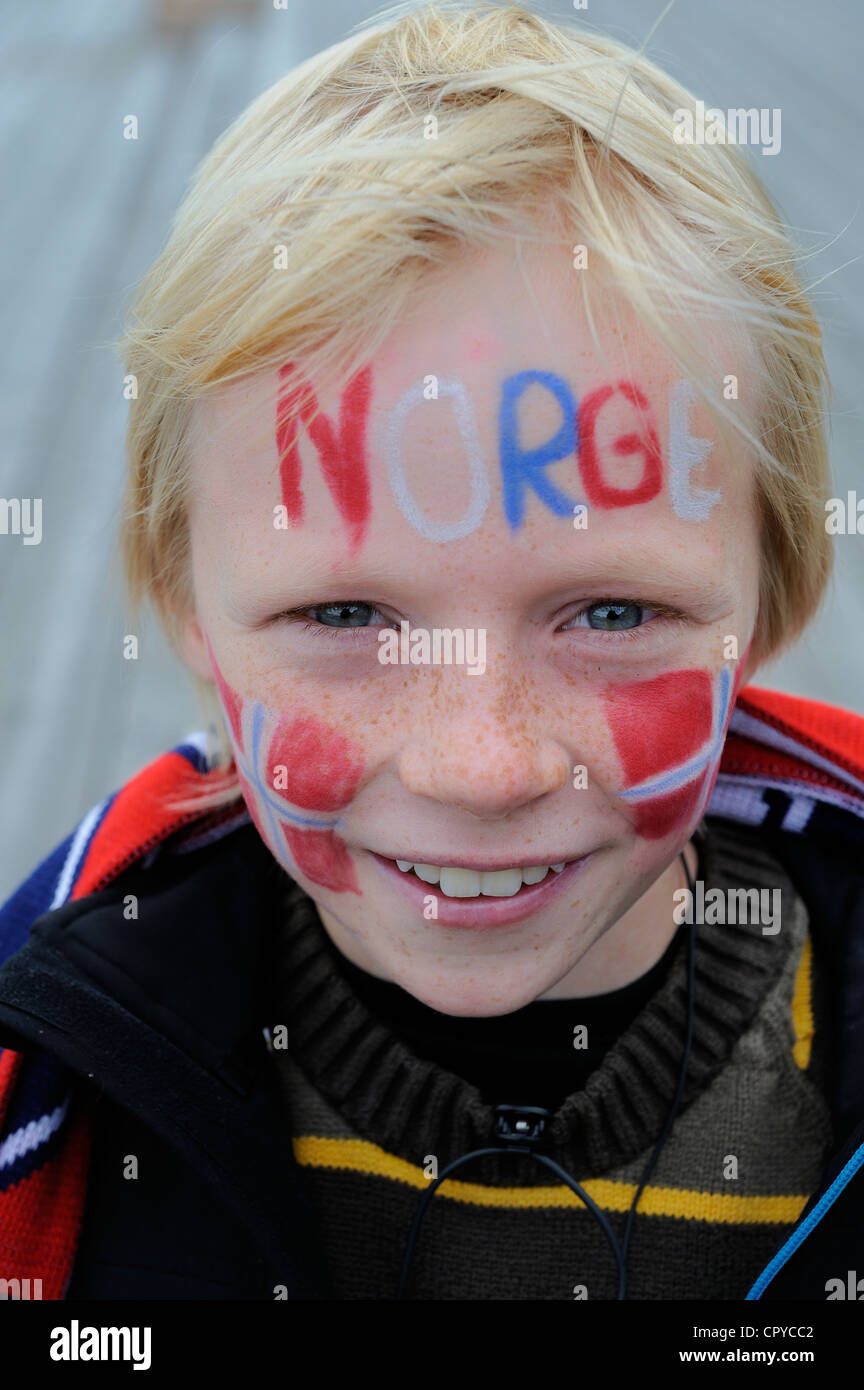 Norway, Oslo, Martin, young supporter of the soccer national team - Stock Image