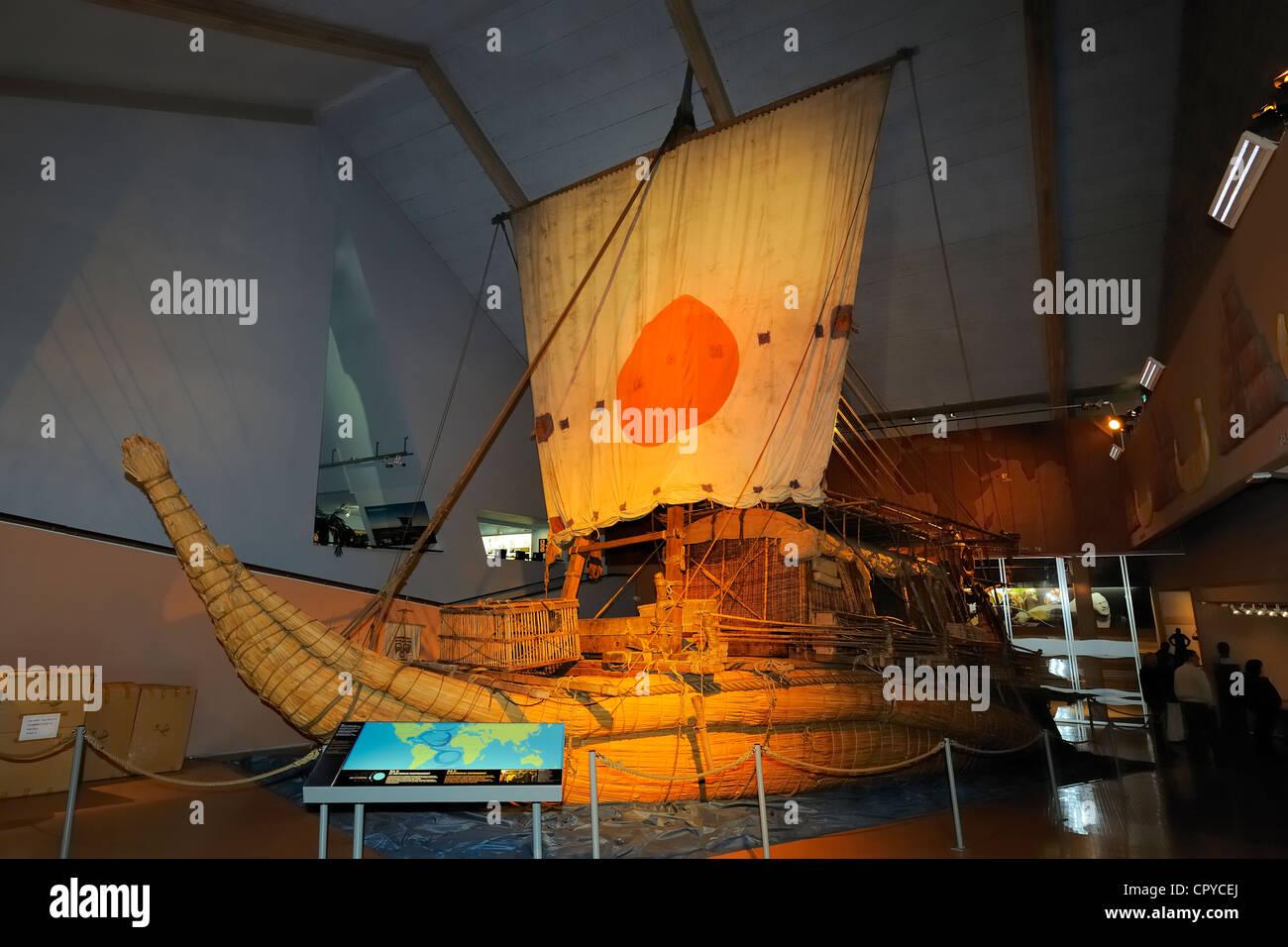 Norway Oslo Bygdoy Peninsula Kon-Tiki Museum Ra II ship of Thor Heyerdahl replica of former egyptien papyrus boat - Stock Image