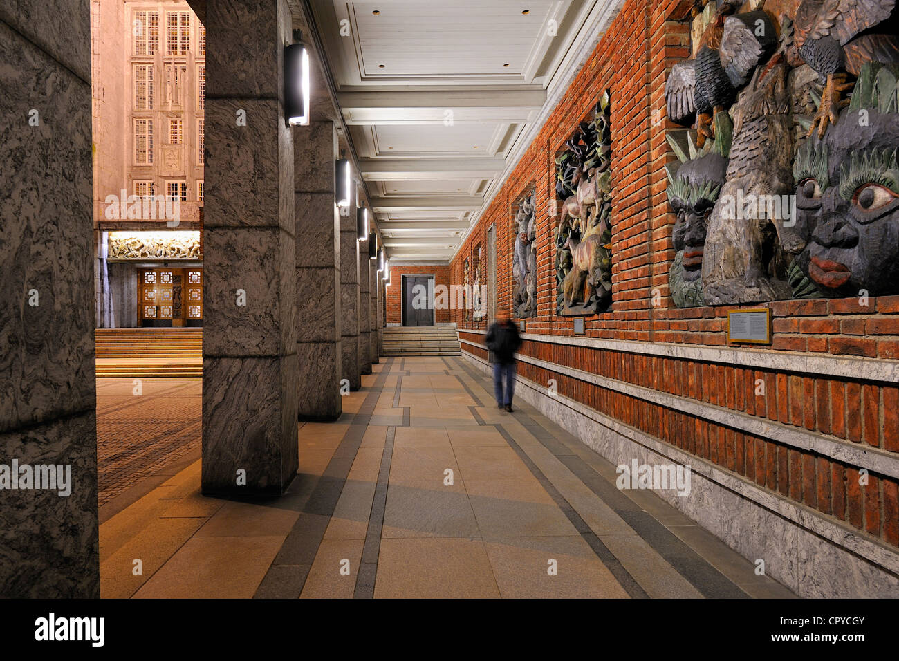 Norway, Oslo, Town Hall, bas reliefs with Viking myths - Stock Image