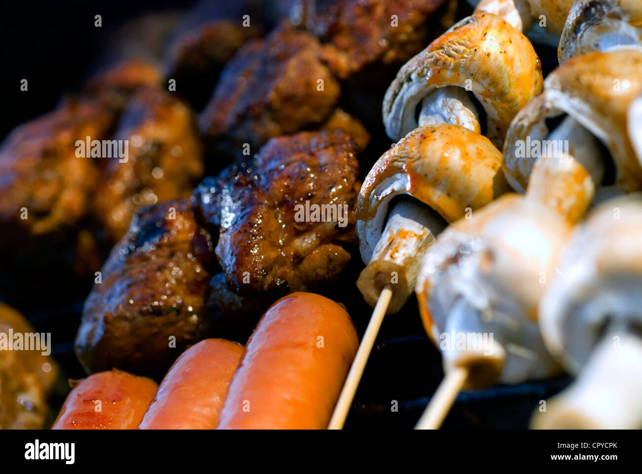 Close-up of different taste sensations on the grid - Stock Image