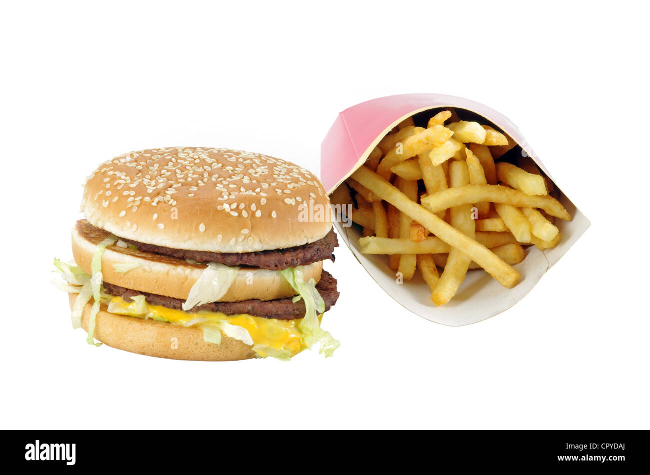 Fast food menu: double burger and french fries - Stock Image