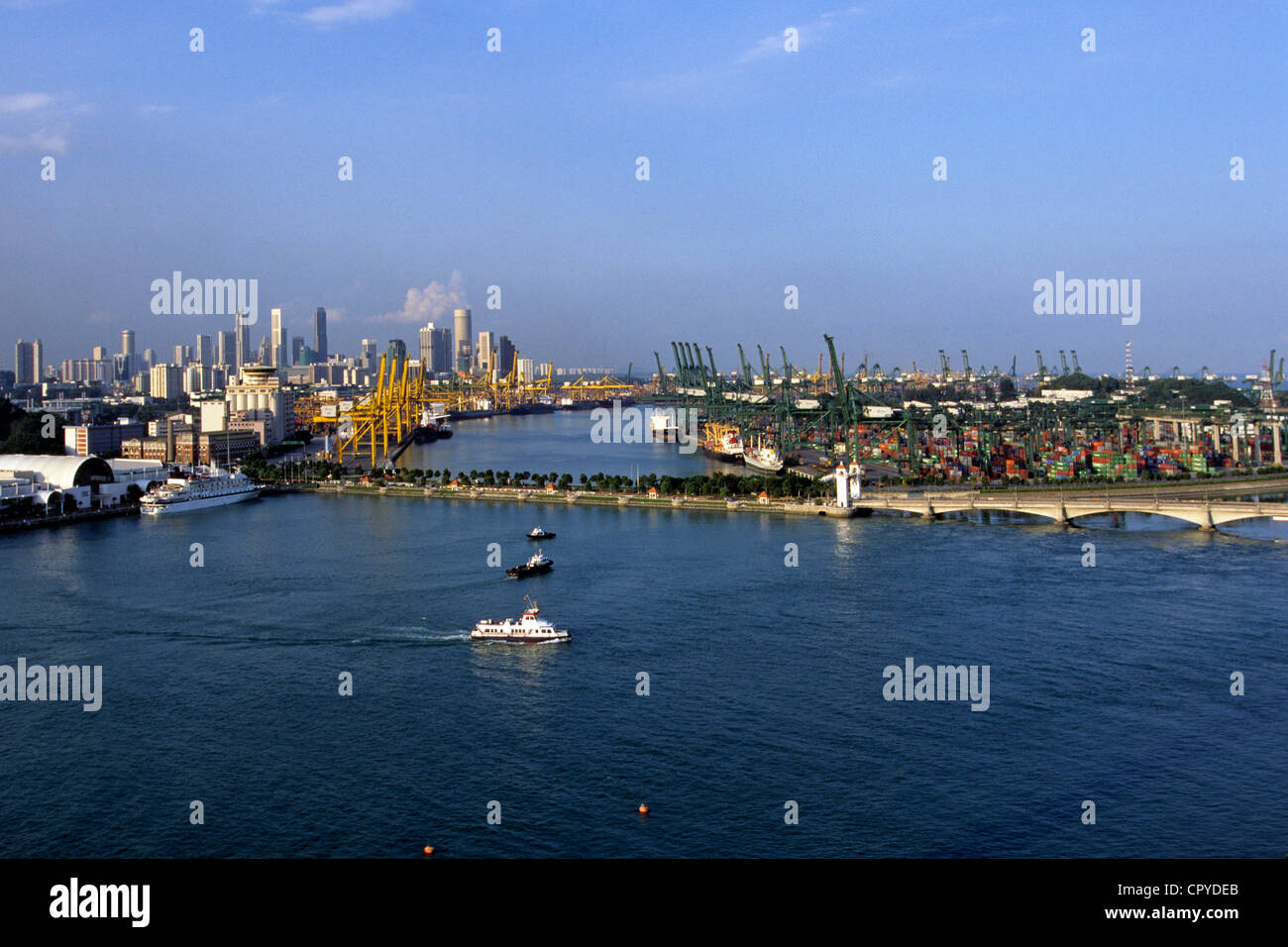 Singapore, Pulau Brani Island, Keppel commercial harbour - Stock Image