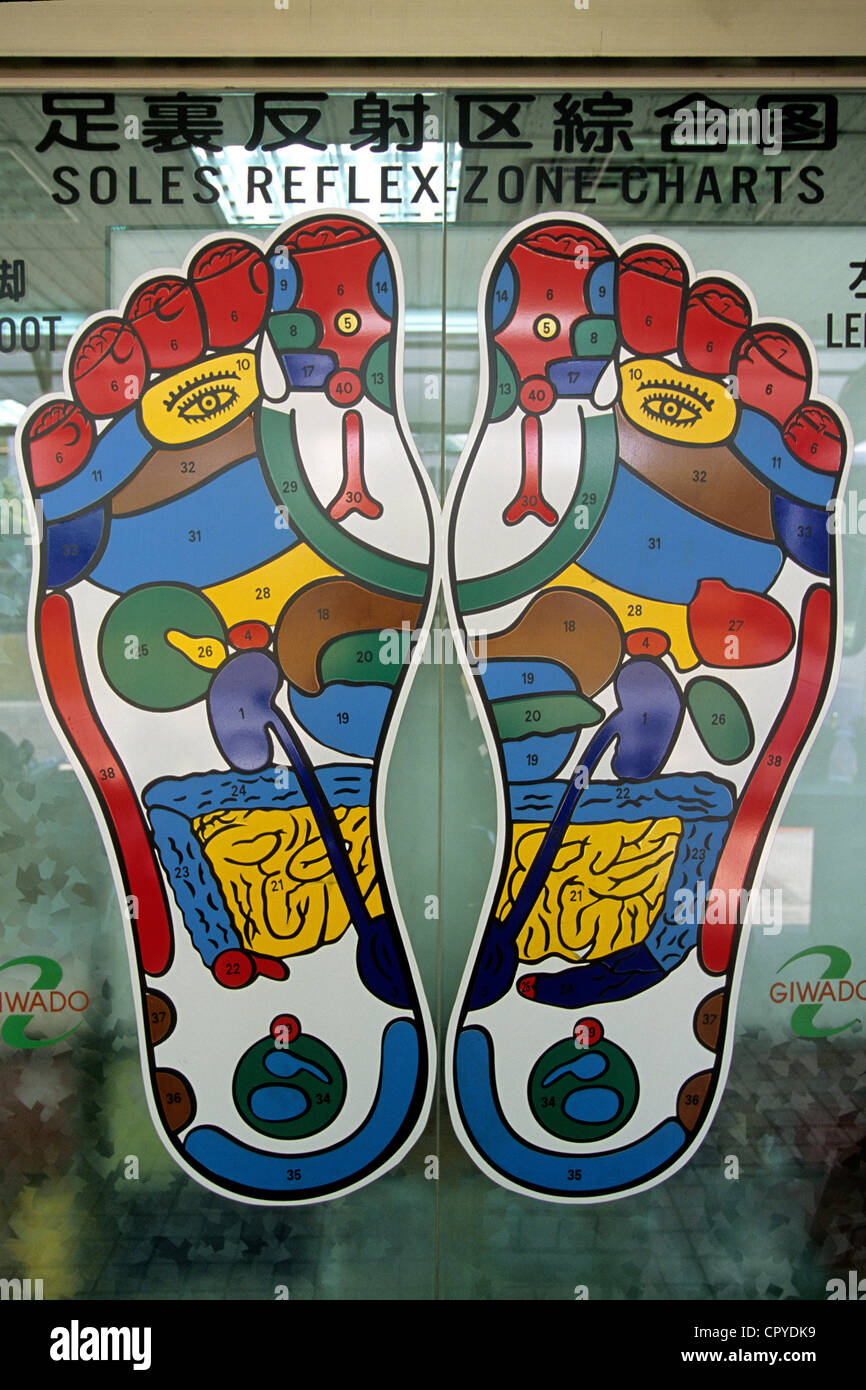 Taiwan, Taipei, detail of a reflexology sign in one of the numerous salon of the capital city - Stock Image