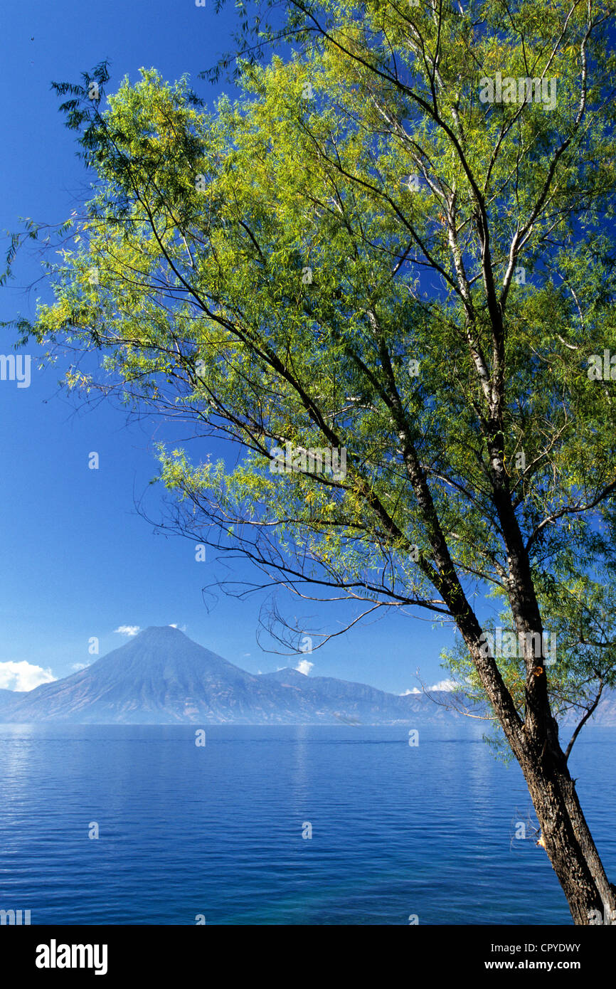 Guatemala, Solola Department, Atitlan lake, holiday resort, surrounded by three volcans, San Pedro, Toliman and - Stock Image