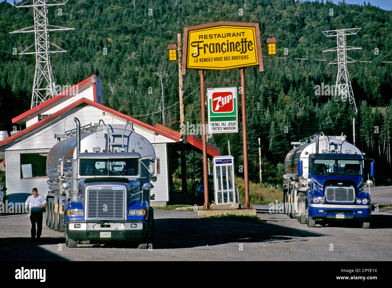 Canada, Quebec Province, Chez Francinette Truck Stop up on the road to the Laurentides - Stock Image