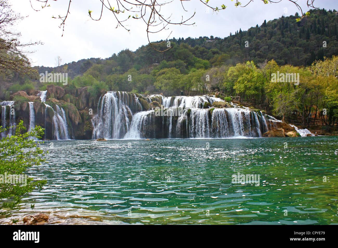 National park Krka, waterfall on Krka river, Croatia Stock Photo