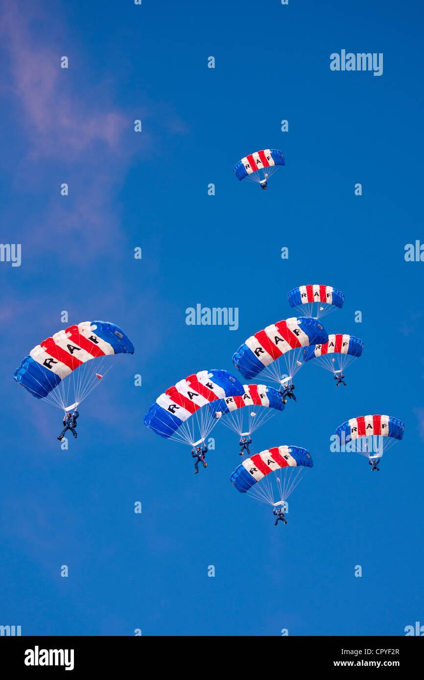RAF Falcons freefall parachute team taking part in air display at RAF Brize Norton Air Base, UK - Stock Image