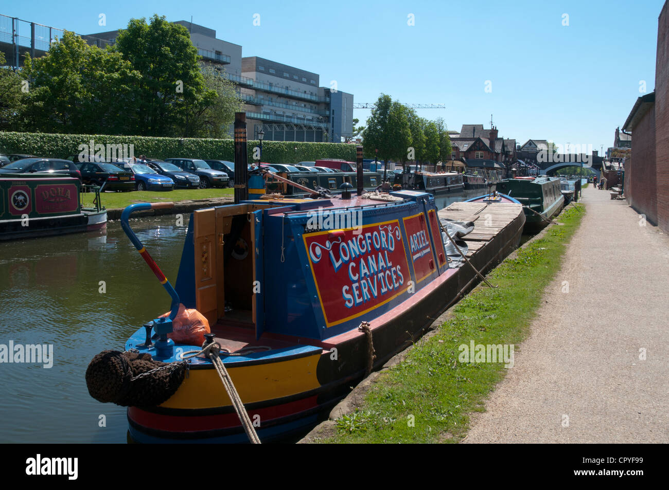 Narrowboats on the Bridgewater Canal at Sale Waterside, Cheshire, England, UK - Stock Image