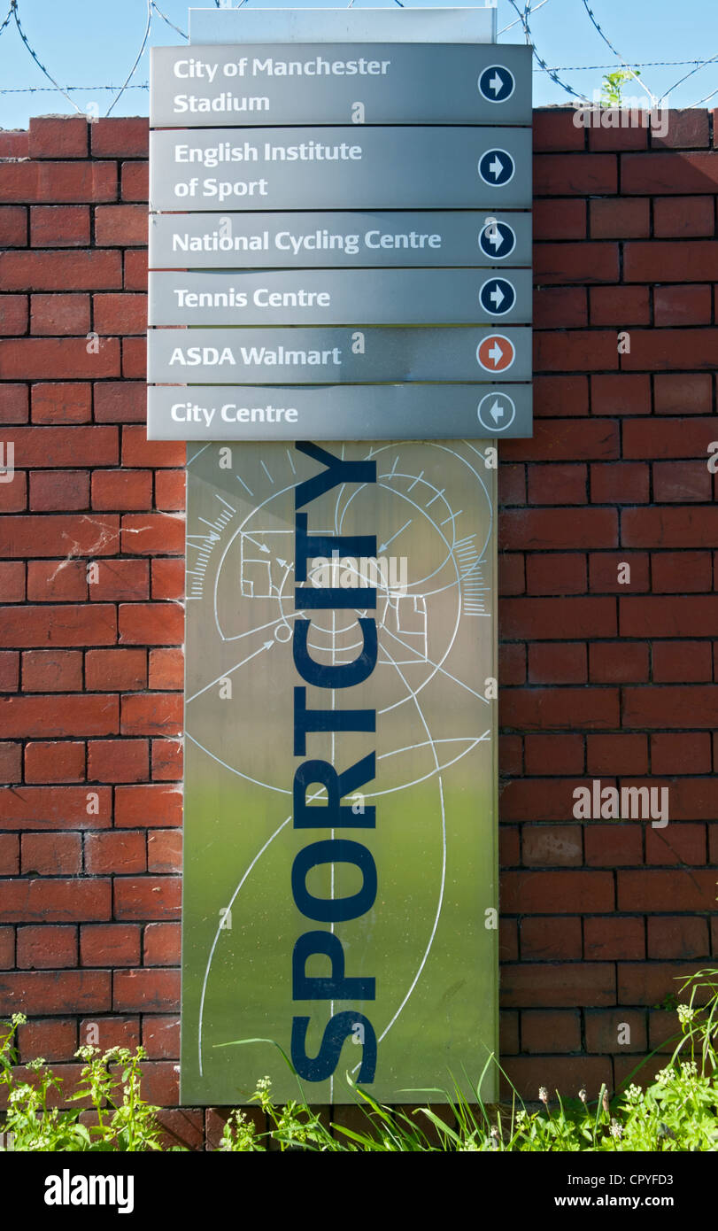 Sportcity information sign on the Ashton Canal towpath, Eastlands, Manchester, England, UK - Stock Image