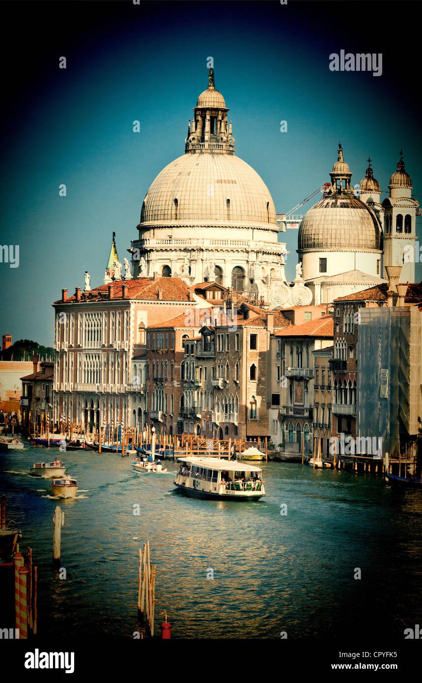 La Salute church from Academia Bridge, Venice, Italy - Stock Image
