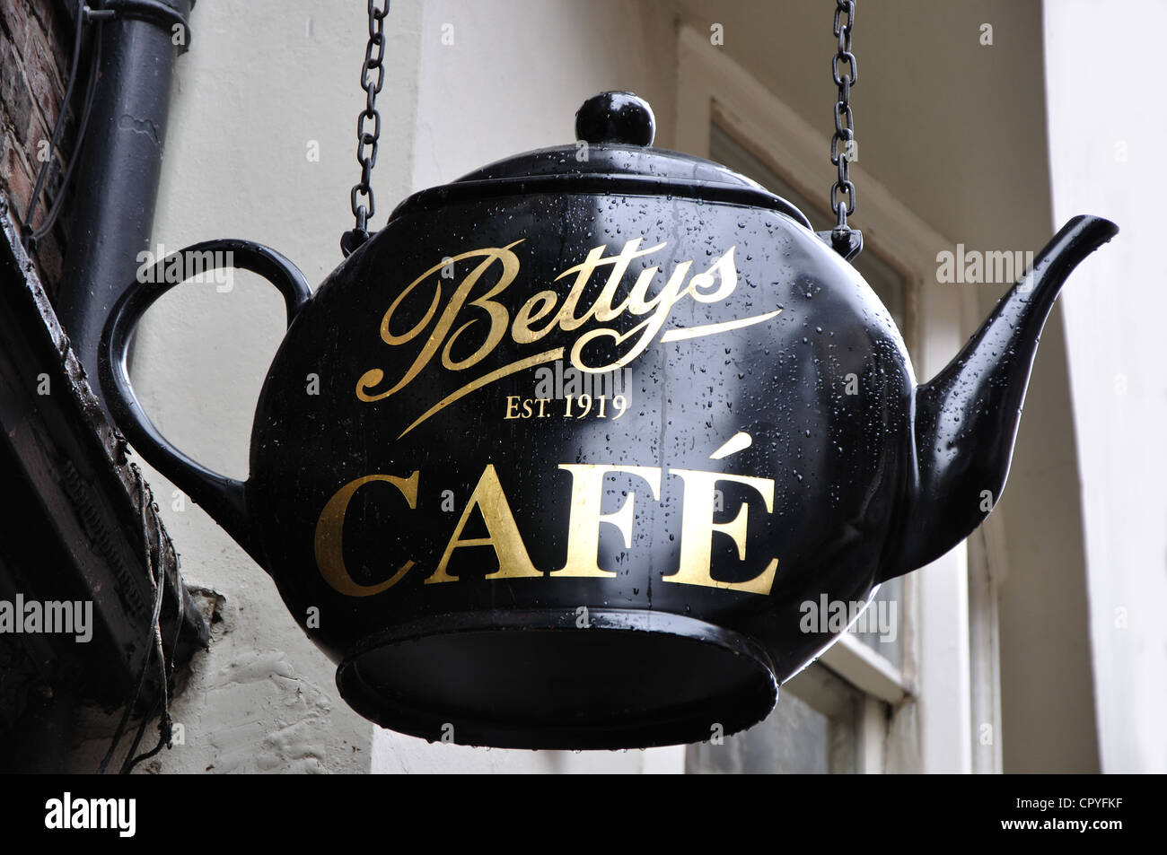 teapot sign for Bettys cafe and tearoom, Stonegate, York, England, UK - Stock Image