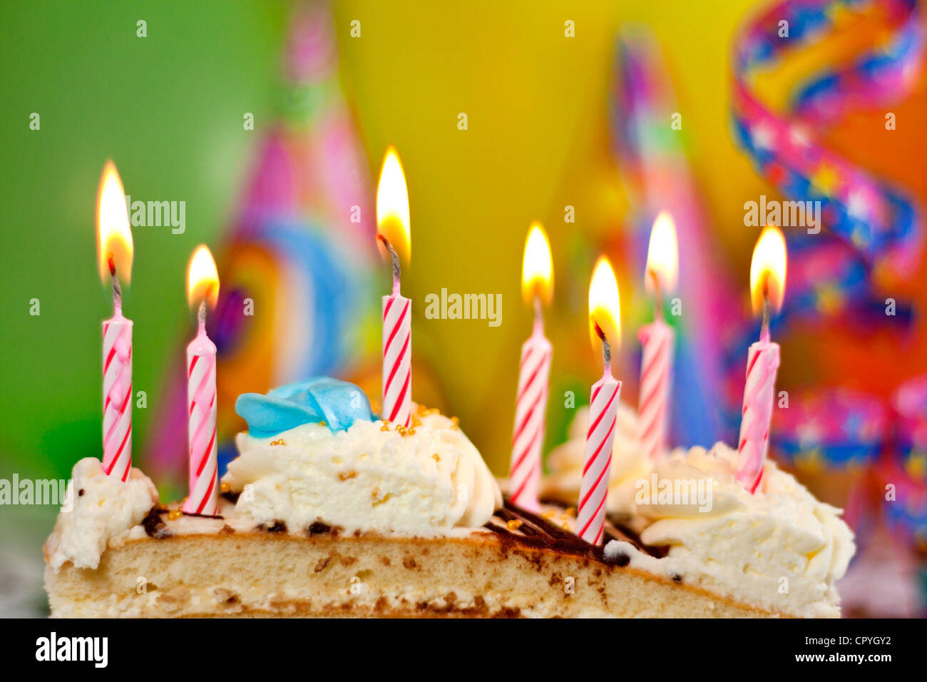 Fantastic Birthday Cake Candles And Colorful Blur Party Background Stock Funny Birthday Cards Online Overcheapnameinfo