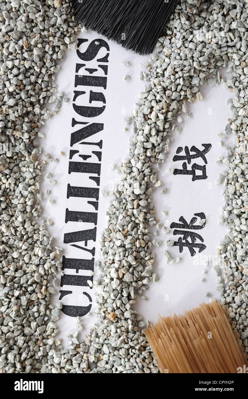 Challenges -- Treasure Word Series with chinese translation - Stock Image