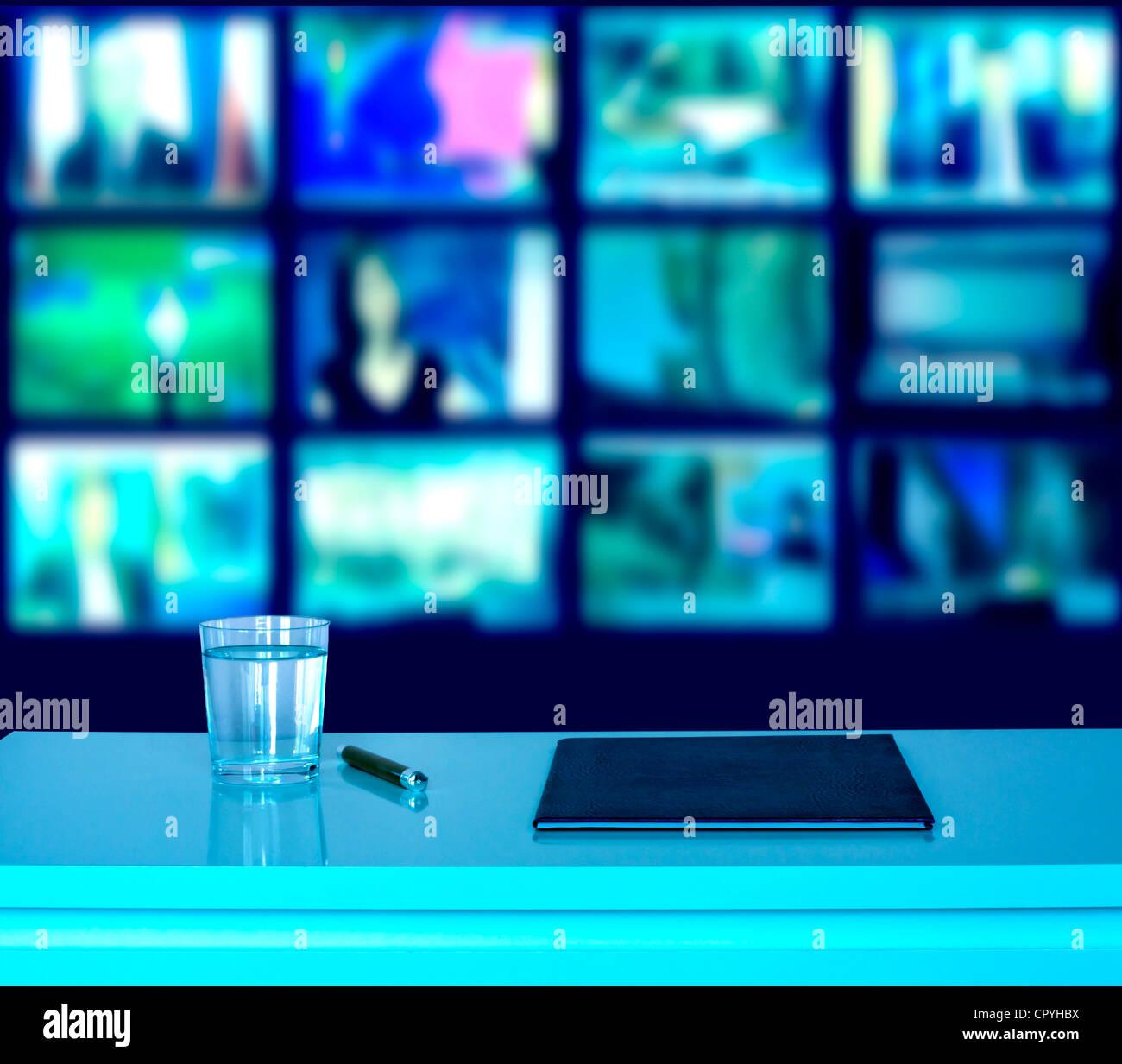 News television studio media concept background - Stock Image
