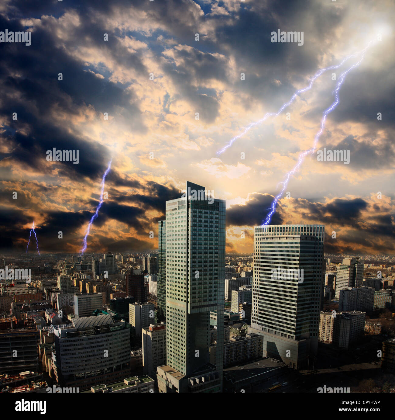 Apocalypse lightning storm in the city in Warsaw - Stock Image